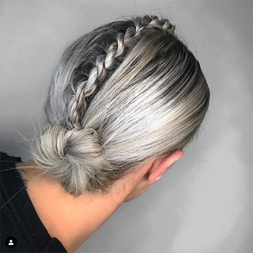 Girl with silver and grey hair style