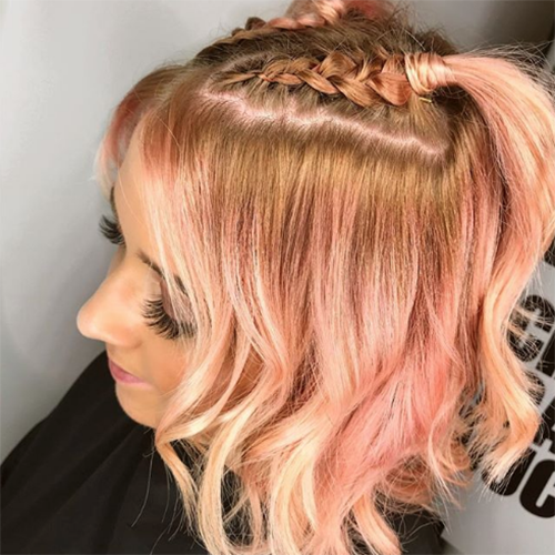 Girl with pink hair with plait