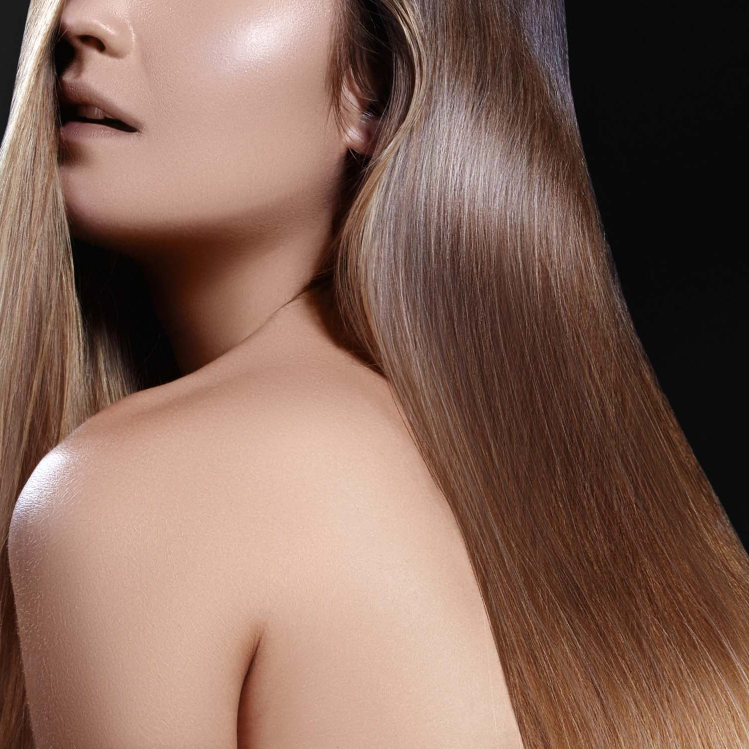 Fashion long hair. Beautiful brunette girl. Healthy straight shiny hair style. Smooth hairstyle. Keratin treatment, spa