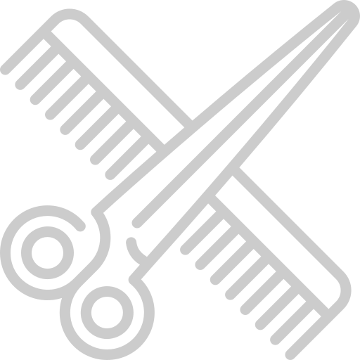 grey scissors & brush icon